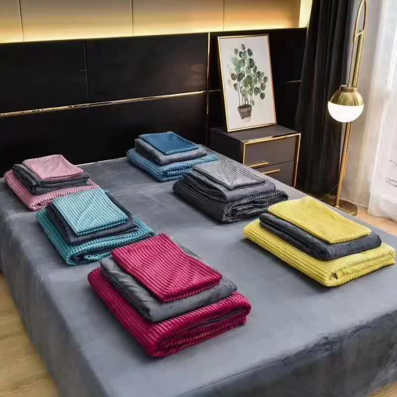 38968 - Winter Coral Fleece Soft Handfeel 2 Layer Bedding 4 pcs Set China
