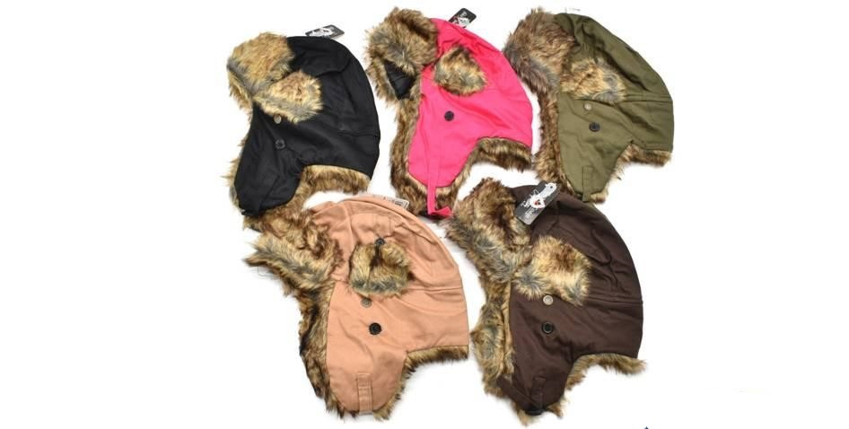 39355 - Faux Fur Trapper Hat Assorted Colors USA