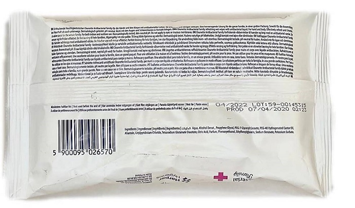 40604 - Salviette Antibacterial rinfrescanti umidificate Cleanette Europe